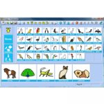 Pictogram images on the screen. On the left are menu choices, and on the last row are a selection of pictograms that are zoomed in.