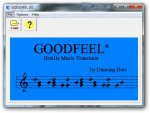 GOODFEEL software showing musical notation in blue.