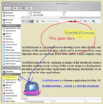 A screen of text with red circles and blue arrows are drawn to demonstrate ScribbleScreen's use.