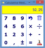 Onscreen calculator with large, dark blue numbers, and mathematical operations.