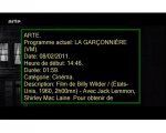 Information on a television program, including the name, date, start time, duration, category, and description.