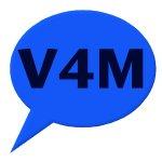 V4M text inside a round speech bubble on blue background.