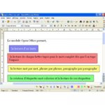 A screenshot of a word processing page in French with a typed sentence followed by several sentences, each shown in a different color box.