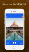 """A mobile phone screen featuring the Taj Mahal with text over it that reads """"Taj Mahal"""" and a caption above the screenshot that reads """"Recognize Landmarks""""."""