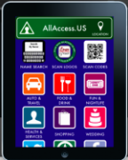 """An iPad withthe AllAccess app on its screen. The title is in a green bar with the word """"location"""" written along with a pin for a map. Below the title is a 3x4 grid of options with their simple icons like name search, scan logos, scan codes, auto and travel, food and drink, fun and nightlife, health and services, shopping, wedding, and 3 others which are not fully shown."""