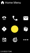 A mobile phone's screen featuring menu option icons such as a phone, email, books, and a map.