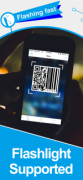"""Scan screen featuring QR code and barcode being scanned. The caption reads """"Flashing fast. Flightlight Supported."""""""