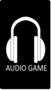 """A simple white outline of drawn headphones on a black background with the words """"audio game"""" written in white underneath them."""