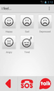 An emotions aac board on smartphone is shown. There are 5 smiley/frowning type circle faces drawn with 3 red buttons on the bottom to go back, SOS, and Talk.