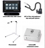 Four devices: the AutonoME ECU/SGD tablet which is a display on a stand with a 2x4 grid of icons for dialog, phone, computer, call, sound, settings, etc. Next is an all in one mic/sip and puff system with tubing and a mounting clamp. Below is a floor stand with a roller and an overhanging arm. Last is the autonoMe command center: a rectangular white device with a plug-in port and 2 LED indicator lights on the front edge.