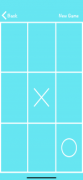 A tic tac toe board in white with a blue background.