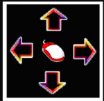 A black square with 4 large black arrows, each pointing in a compass direction and outlined in multicolors of red, yellow, purple and white. In the center of them, there is a large drawn red mouse with a white button.