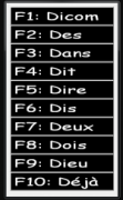 A table with 10 rows: each row has an F1-10 number and is followed by a word that begins with the letter D.