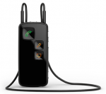 A small black rectangular device on a neck strap with three icon buttons on the front: a telephone, a microphone, and a computer.