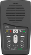 A gray rectangular device with a speaker at the top and menu options below, including radio, microphone, flashlight, playback speed control, and other options.