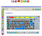 Avirtual keyboard with keys in different colors. The text box is at the top, below a toolbar, and auto-word suggestions are below this, in yellow. There is a toolbar on the right and another below the keyboard. Above the screen are 6 different nations' flags.