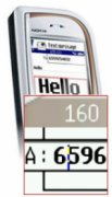Mobile phone with enlarged text and numbers.