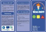Screenshot of WAI-NOT brochure, which includes the logo, the website, and information about the product on three different panels.