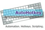 AutoHotkey logo with the name written in a purple text font on a transparent blue rectangle that sits atop a keyboard.