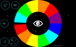 EyeHarp main screen featuring an infographic pie chart with multi-colored label sections representing the different music notes.