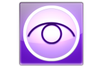 A purple eye graphic with a white circle around it.