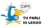 "Logo featuring bird speaking Italian words that say, ""you speak I read"""