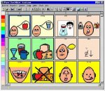 Symbol for Windows symbols menu showing a 4x3 grid of pictures featuring heads drawn with speech or thought bubbles and food items.