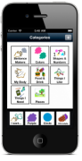 "Grace application in a smartphone featuring the categories menu where users can choose options such as ""sentence markers"" or ""colors."""