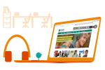 Orange laptop graphic with the display showing a webpage, with a pair of orange headphones next to the keyboard a little green figure standing on the keyboard.
