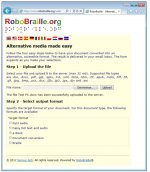 Media upload and output format screen for RoboBraille service.