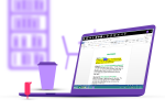 Purple laptop with display showing a text document. Purple cup of coffee is next to the laptop and in the background is a purple bookcase and chair. A tiny red figure is standing next to the keyboard.