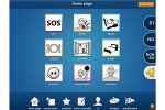 The homepage of the application with pictures for the users to select in order to communicate on a tablet. The pictures have SOS, red pain in hand, dressing tools, eating tools, a bed, s smiley face, a window looking outside.