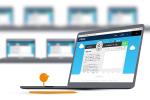 Laptop showing screenshot of program on display and little orange figure on keyboard staring at display.