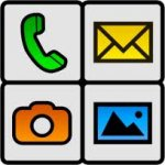 BIG Launcher icons, including a phone, camera, photos, and email options.