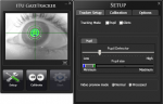 ITU Gaze Tracker setup screen showing an eye centered on a two-axis grid with the pupil colored neon green. Below this picture are tool buttons and to the right is a setup menu for calibrating the pupil location.
