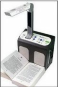Text to speech book scanner, with rectangular, box base and extended arm to scan the text.