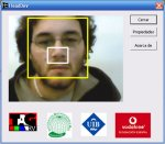 HeadDev head motion detector screen featuring a yellow square around a user's head and a white square around a person's nose.