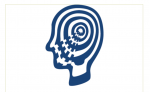A Silhouette of the side profile of a head in white and blue colors with a wave moving from the core of the head to the mouth.
