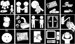 Software screen with black and white icons about human interaction in a 5x3 grid.