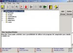 Screenshot of E-triloquist library and a speaking menu showing an editing crop button, play, pause, record buttons, an exit door button, and a listing of file folders. There is a large dialog box at the bottom showing text.