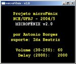 microFenix computer interface with a black background and yellow and white text.