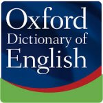 Oxford Dictionary of English Logo is a square with the name written in white letters on a blue background under which is a wave of red and green colors.