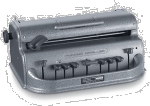 A devicesimilar to a typewriter but with few buttons and an adjuster on top.