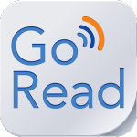 """Goread app icon showing the shape of a light gray computer key with a slightly curled lower right edge similar to a page. Written on the square are the words """"Go Read"""" in blue. The letter o in Go has radiating from it 3 curved arches in blue, dark blue and orange similar to sound waves."""