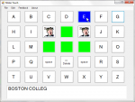 "On-screen keyboard arranged by alphabet with 9 function keys in the middle. Two of these keys have a picture of a man with the word ""speak"", and 4 keys are bright green. The mouse is pointing at a blue key and the bar at the bottom shows the text that is being written."