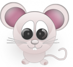 The product logo icon featuring a standing cartoonish mouse with a big round head, large eyes, pink ears, and no hands.