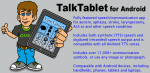TalkTablet for Android infographic with an illustration of a person holding a tablet with TalkingTablet AAC board featured and an explanation of the product to the right.