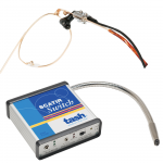 "Medium-sized, rectangular, blue-and-white box that says ""SCATIR Switch,"" connected to various cords and a gooseneck mounting kit."