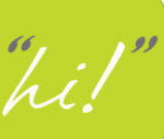 """The Say Hi AAC logo. It has a lime green backdrop, with the word """"hi!"""" written in a cursive, handwriting-style font. The word is in white, while the quotation marks around it are dark grey."""