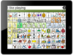 Anapp on an iPad showing a grid of icons representing various action verbs.
